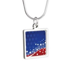 PROUD NAVY WIFE Silver Square Necklace