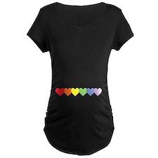Rainbow Hearts Row B Maternity T-Shirt
