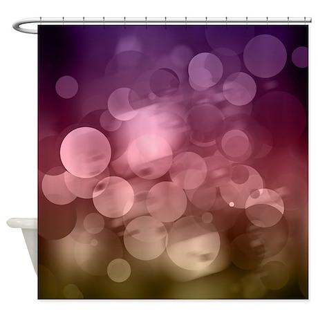 Purple/Red & Brown Bokeh Shower Curtain