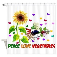 Peace Love Vegetables Shower Curtain