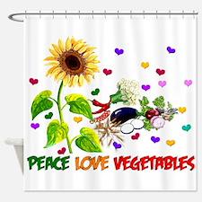 Peace Love Vegetables Shower Curtain