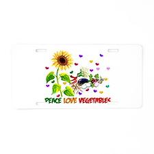 Peace Love Vegetables Aluminum License Plate