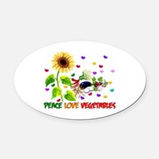 Peace Love Vegetables Oval Car Magnet