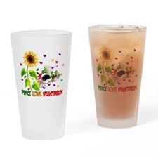 Peace Love Vegetables Drinking Glass
