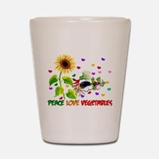 Peace Love Vegetables Shot Glass