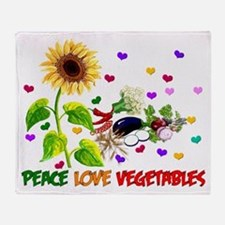 Peace Love Vegetables Throw Blanket