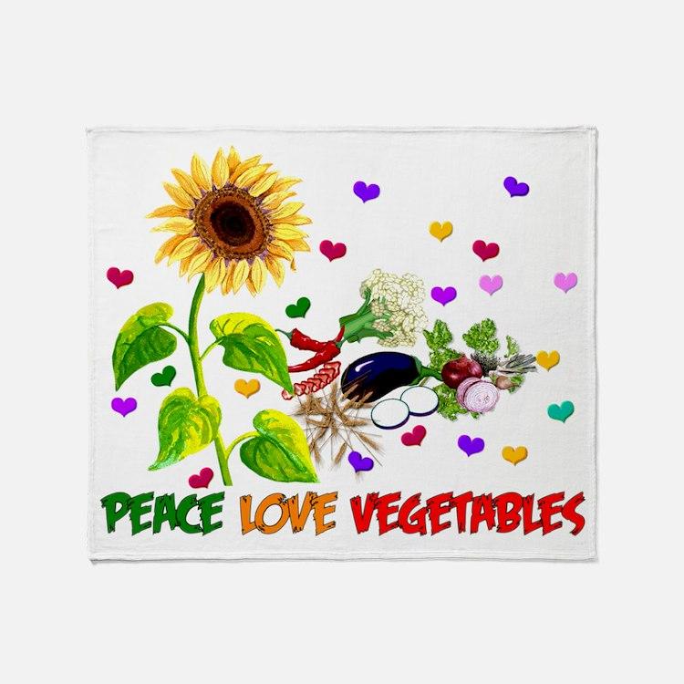 Peace Love Vegetables Throw Blanket