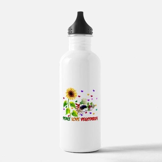 Peace Love Vegetables Water Bottle