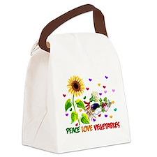 Peace Love Vegetables Canvas Lunch Bag