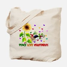 Peace Love Vegetables Tote Bag