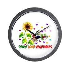 Peace Love Vegetables Wall Clock