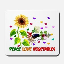 Peace Love Vegetables Mousepad