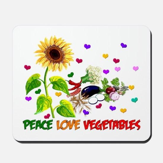 Peace Love Vegetables Mousepad
