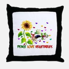 Peace Love Vegetables Throw Pillow