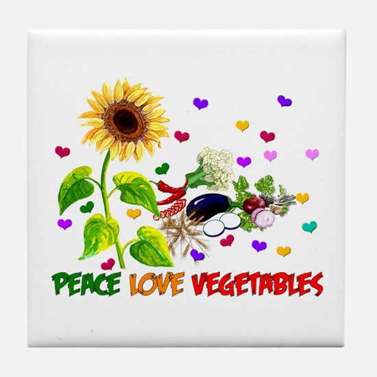 Peace Love Vegetables Tile Coaster