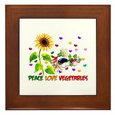 Peace Love Vegetables Framed Tile