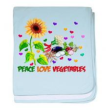 Peace Love Vegetables baby blanket