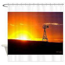 Windmill Sunset Shower Curtain