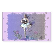 Ballerina in Garden Rectangle Decal