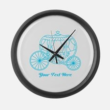 Blue Carriage Custom Text. Large Wall Clock