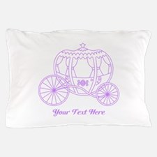 Purple Carriage, Custom Text. Pillow Case