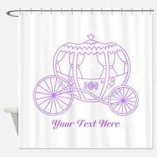 Purple Carriage, Custom Text. Shower Curtain