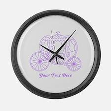 Purple Carriage, Custom Text. Large Wall Clock