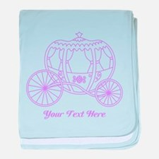 Purple Carriage, Custom Text. baby blanket