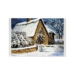 Farmhouse in the Snow Rectangle Magnet