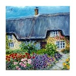 Mother Daughter Cottages Tile Coaster