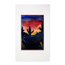 Saguaro cactus, southwest art 3'x5' Area Rug