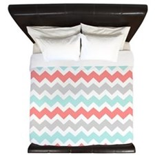 Coral Aqua Grey Chevron Stripes King Duvet