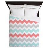 Chevron teal and coral Duvet Covers