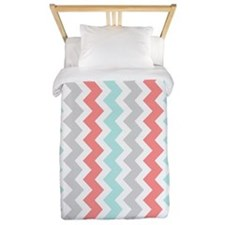 Coral Aqua Grey Chevron Stripes Twin Duvet