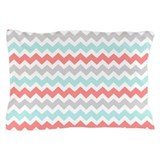 Aqua and coral Pillow Cases