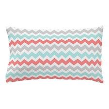 Coral Aqua Grey Chevron Stripes Pillow Case