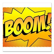 "BOOM Comic Sound Effects Square Car Magnet 3"" x 3"""