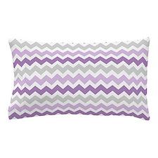 Purple Grey White Chevron Stripes Pillow Case