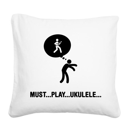 Ukulele Player Square Canvas Pillow