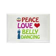 Peace Love Belly Dancing Rectangle Magnet