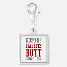 Diabetes Butt Since 1988 Silver Square Charm