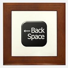Black Keyboard Back Space Key Framed Tile