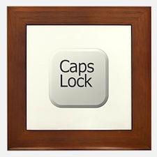 White Keyboard Caps Lock Key Framed Tile