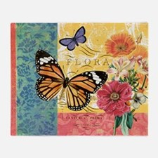 Modern vintage French butterfly and floral Throw B