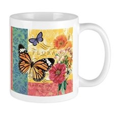 Modern vintage French butterfly and floral Mug