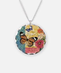 Modern vintage French butterfly and floral Necklac