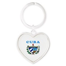 Cuba Coat Of Arms Designs Heart Keychain