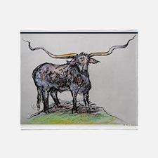 Long Horn, Texas Bull, art Throw Blanket