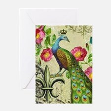 Vintage French peacock and floral collage Greeting