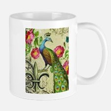 Vintage French peacock and floral collage Mug